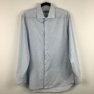 Canali Gingham Plaid Dress Shirt Blue/White 41-16